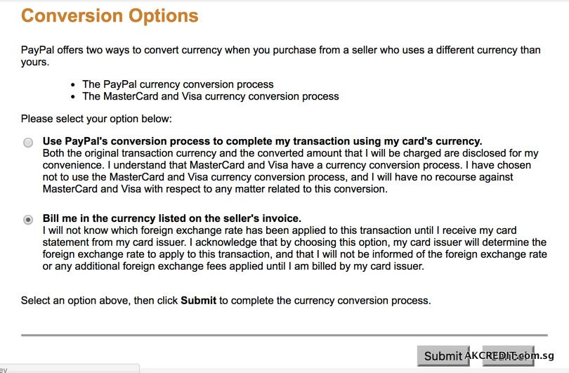 PayPal Currency Conversion Option