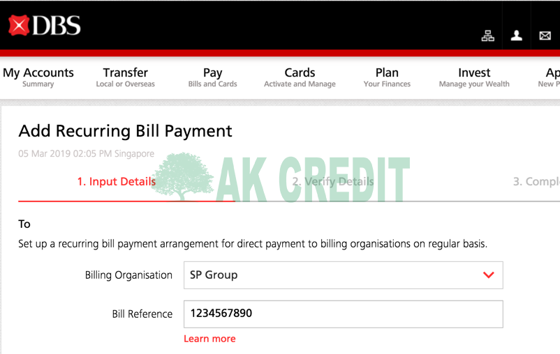 DBS Add Recurring Bill Payment